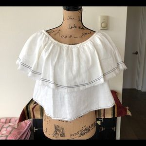 Zara Woman Linen White Cropped Top Blouse M